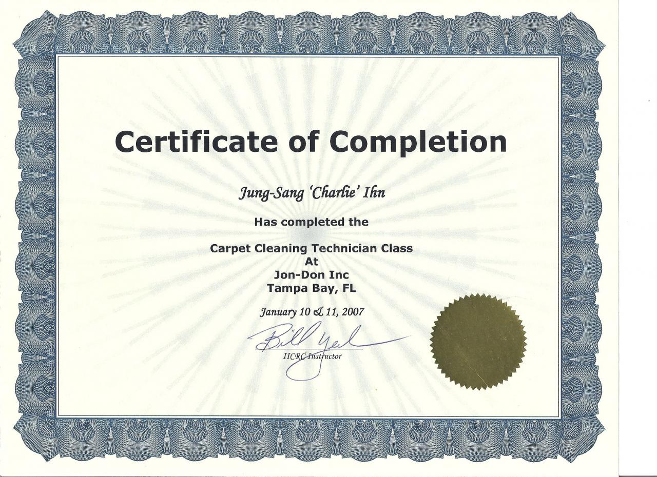 Carpet Cleaning Certificate Ideas